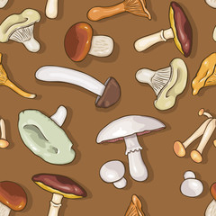 Vector Seamless Pattern of  Etible Mushrooms