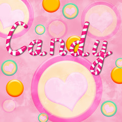 Background with the word candy