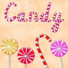 Background with the word candy and lollipops