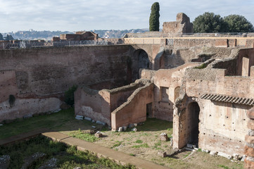 Ruins in the Palatine Hill, Rome, Italy