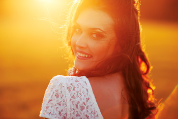 Beauty Sunshine Girl Portrait.
