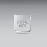 Glass framework with mushroom icon