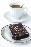 Coffee with brownies cake
