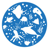marine animals blue Circle