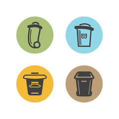 bin, garbage cans icons color