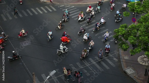 .Saigon. Vietnam. Traffic.    Top view of the road.