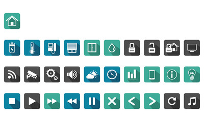 home automation, smart home long shadow icon set