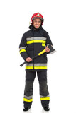 Firefighter posing with axe. Front view.