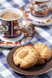 Homemade turkish cookies with almond and coffee
