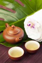 Spa concept with green tea, toned