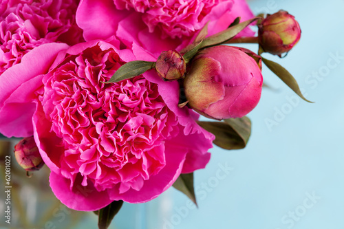 Bunch of bright pink peonies, close up