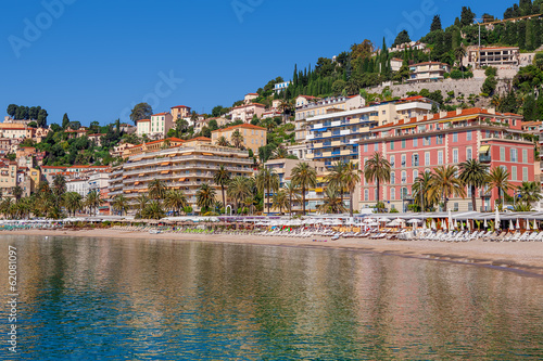 Hotels and beaches in Menton, France.