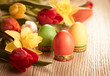 Vintage style  flowers and easter eggs