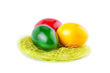 Easter Eggs in a Nest Isolated on White