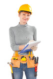 female worker writing in clipboard isolated