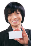 focus on card. asian female shoving white vizit card