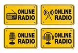 online radio - rectangle yellow signs