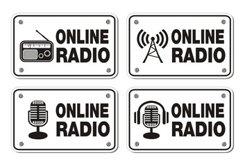 online radio rectangle signs