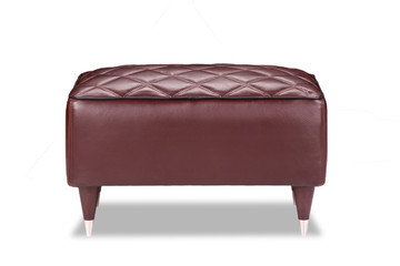 LEATHER PADDED FOOT STOOL OTTOMAN
