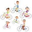 サイクリングで手を振る家族