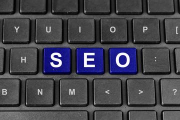 SEO or search engine optimization word on keyboard