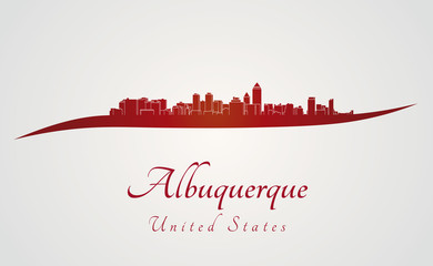 Albuquerque skyline in red