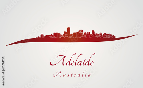 Adelaide skyline in red
