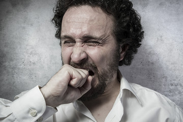Pain, man in white shirt with funny expressions