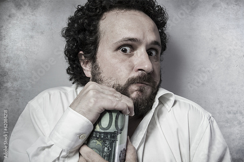 Save, stingy businessman, saving money, man in white shirt with