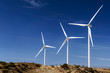 Wind turbines generating electricity in Americas desert