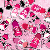 Seamless pattern - children gumshoes on pink background - design