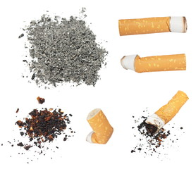 Set Cigarette butts and ashes from tobacco isolated on white