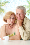 Charming old couple at the resort