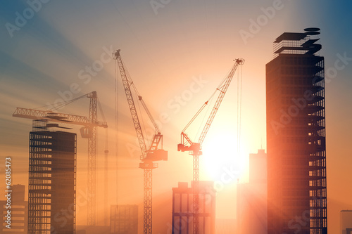 canvas print picture Construction crane