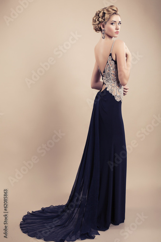 beautiful blond woman in elegant black dress