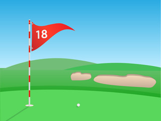 Golf scene vector illustration