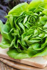 Green lettuce salad on a wooden board