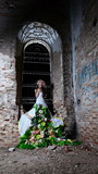Bride in the old ruined church