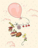 pink balloon with calorie meal