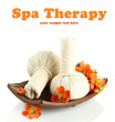 Herbal compress balls for spa treatment and flowers isolated