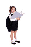 Schoolgirl standing with big book