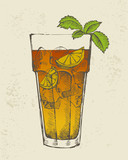 Hand drawn illustration of Long island iced tea cocktail.