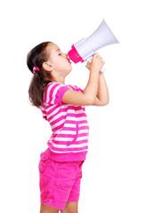 Little girl screaming in megaphone