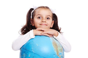 girl with a globe closeup portrait