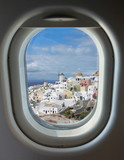porthole and island of Santorini