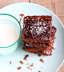 Chewy chocolate and coconut slice