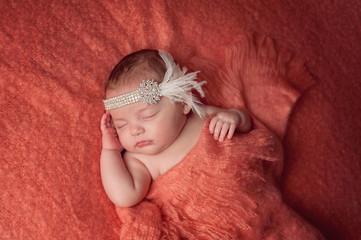 Baby Girl Wearing a Rhinestone Flapper Headband