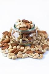 various nuts in a jar