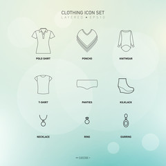 Vector Clothing Icon Set | Named and Layered Separately | EPS10