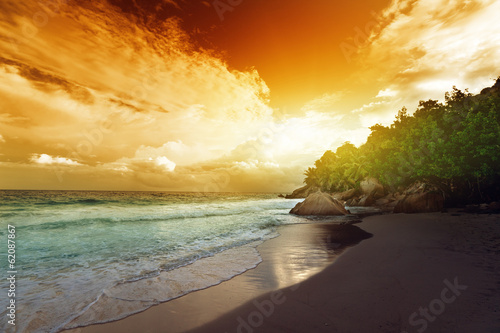 sunset on Seychelles beach, La Digue island